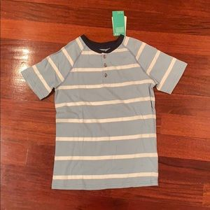 A blue and white striped shirt